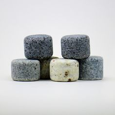 Whiskey Stones + Glasses - Set includes: Six granite stones, a wooden display/holder, and two glasses
