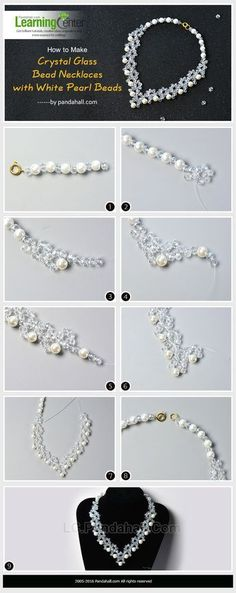 How to Make Crystal Glass Bead Necklaces with White Pearl Beads(Diy Necklace Beads) How To Make Crystals, How To Make Beads, Bead Jewellery, Fine Jewelry, Lc Jewelry, Fashion Jewelry, Crystal Jewelry, Rhinestone Jewelry, Cheap Jewelry