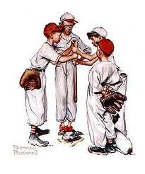 Painting by Norman Rockwell.  The School boys baseball team.