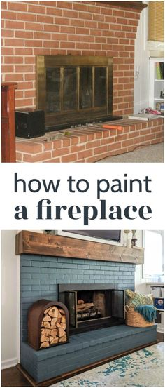 How to paint a brick fireplace (the right way) - Lovely Etc. : Learn how to completely transform your dated brick fireplace with simple DIY projects – painted brick, painted fireplace doors, and an easy DIY wood mantel. This is an easy brick fireplace mak Update Brick Fireplace, Brick Fireplace Wall, Basement Fireplace, Painted Brick Fireplaces, Simple Fireplace, Farmhouse Fireplace, Fireplace Ideas, Painted Brick Walls, Fireplace Makeovers
