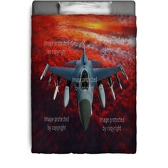 Chasseur Bombardier Bedding style featuring an Air Force fighter jet patrolling the deadly skies. See more at http://www.visionbedding.com/chasseur-bombardier_bedding-d-9293672-190-47.asp  #Chasseur, #FighterJet, #CustomHomeDecor