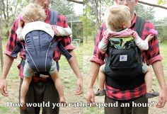 How would you rather spend an hour? (safety tips for dangerous vs. safe baby carriers)