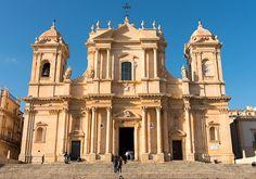 The Cathedral in Noto (La cattedrale di San Nicolò. Architects:  Rosario Gagliardi, and its completion in 1776 under the supervision of Bernardo Labisi).