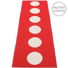 Add a spot of colour to your floor with Pappelina's bright red Vera runner. Fancy a change? Flip it over and the design is reversed.  Pappelina runners make a hallway feel welcoming, in fact they are great for numerous areas of the home, and the benefits are many - such as; water-resistant, easy to clean and of course good looking!  Woven from soft plastic using traditional Swedish techniques, Pappelina runners are reversible, dust and dirt repellent and fully washable/