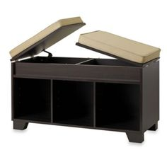 A place to put stuff, a place to hid some other stuff and a place to sit afterwards! Woo-hoo! ☺♥  Real Simple® Split-Top Bench Storage Unit in Espresso -  BedBathandBeyond.com $79.99
