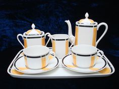 art deco Limoges hand painted tea for two set