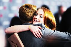 Jack Gleeson and Sophie Turner being adorable at the Game of Thrones S4 premiere.