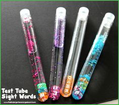 Test Tube Sight Words!  A great sight word activity or sight word center.  Easily differentiated.  Hands on.  Engaging.  Read and write sight words.
