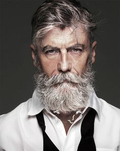 Beard and Moustache Long Older Mens Hairstyles, Haircuts For Men, Cool Hairstyles, Popular Haircuts, Hipster Hairstyles, Old Man Fashion, Hipster Fashion, Mens Fashion, Beard Fashion