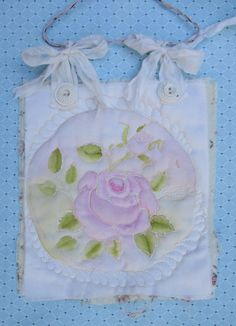 Quilted Pink Rose Wall Hanging Shabby Chic Fiber by paintedquilts