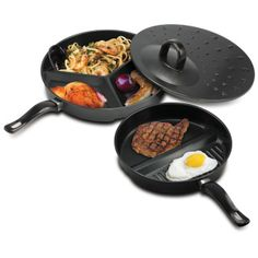 "Compartment Cooking Pans Use less pans for making your meals! This three-piece set lets you cook multiple meal courses at once. It includes a three-section pan a dual-section pan and a vented simmer lid. Both pans feature durable nonstick surfaces for easy cooking and cleaning. Item weight: 2.5 lbs. 2-section pan: 10"" x 15 5/8"" x 2"" high; 3-section pan: 11 7/8"" x 17 3/8"" x 1 3/4"" high; lid: 12"" x 12"" x 2 3/4"" high.   Stainless steel. Hand wash only. UPC:..."