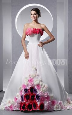 Colored A Line Satin Colored Wedding Dress  #Doris #Wedding #Colored #Wedding #Dress buy wedding dress online from doriswedding.com, you won't break your bank.