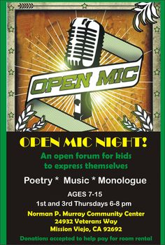 Open mic night for kids in Mission Viejo.