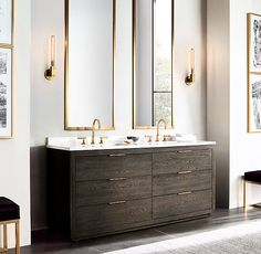 Purchased this but in double xl 96 x 23 x 25 Machinto Double Vanity Base:Designed by the Van Thiels, our collection recalls 1970s postmodernism with bold proportions and clean, mitered lines. Featuring a streamlined silhouette punctuated by sleek metal hardware, it conveys the refined minimalism of the era.SHOP THE ENTIRE COLLECTION ▸