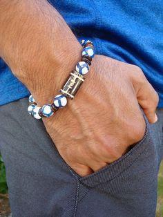 Men's Spiritual Tibetan Bracelet with Peace and Balance Cool Mens Bracelets, Bracelets Design, Jewelry Design, Gemstone Jewelry, Beaded Jewelry, Beaded Bracelets, Guy Jewelry, Tibetan Jewelry, Lava Bracelet