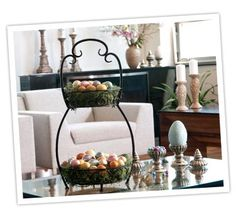 Easter themed two tiered stand...pretty, don't you think??     ~ visit: www.biltmoreinspirations.com/amyumphrey