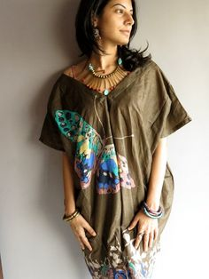 fly fly Butterfly  Military Green Kaftan Dress  Can by silkandmore, $30.00