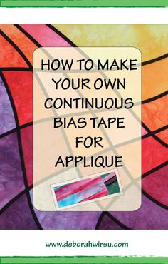 Make your own continuous bias tape for appliqué Quilting Tips, Quilting Tutorials, Quilting Projects, Quilting Designs, Sewing Tutorials, Sewing Projects, Quilt Binding Tutorial, Applique Tutorial, Bias Binding