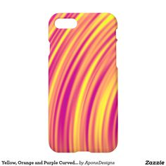 Yellow, Orange and Purple Curved Ripples Pattern Orange And Purple, Yellow, Iphone Case Covers, Cover Design, Create Your Own, Pattern, Patterns, Model, Cover Art
