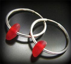 Sea Glass Jewelry, Rarest Red - Genuine Sea Glass Seaglass Valentine Earrings - Sterling Silver Hoops, Jewellery