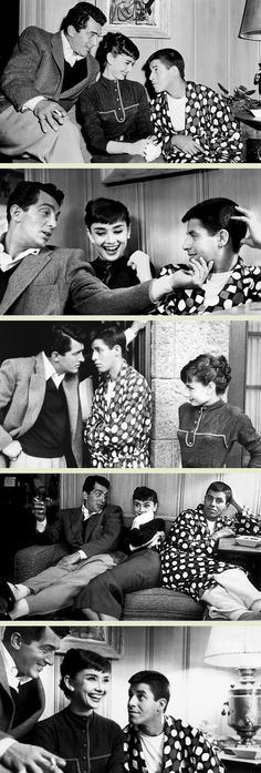 Audrey Hepburn, Dean Martin and Jerry Lewis at the Paramount Studios, 1953 three of my favorite people! Old Hollywood Stars, Golden Age Of Hollywood, Classic Hollywood, Audrey Hepburn Pictures, Divas, Jerry Lewis, Dean Martin, British Actresses, Role Models