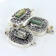 ANTIQUE ROMAN GLASS STERLING SILVER CLASP from New World Gems