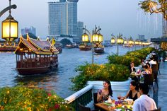 """Located on the banks of the """"River of Kings"""" (Chao Phraya River), guests can enjoy unbeatable views on the Riverside Terrace at Mandarin Oriental, Bangkok.    Pin provided by Mandarin Oriental, Bangkok: http://www.mandarinoriental.com/bangkok"""