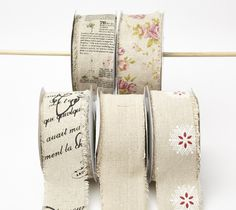 """This ribbon is 2 1/2"""" wide by 20 yards long. The vintage prints includes roses, a travel diary script, and french writing. Perfect for adding a touch of vi"""