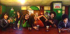Troco Tchereretchereres, Tchu Tchas e Cia por esse bar funcionando com essas pessoas aqui na Terra de volta.    Jim Morrison, bob marley, janis joplin, jimi hendrix, jonnhy cash. Amy winehouse ecom a bandeja; Kurt Cobain na sinuca, John Lennon enconstado na parede la atrás. E o mano de bigode do quadro acima do John Lennon é o Frank Zappa.