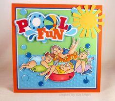 Art Impressions Girlfriends Stayin' Afloat.  Cute summer fun card!