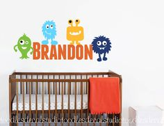 Monster Wall Decal Boys Name Wall Decals by ToodlesDecalStudio