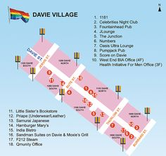 Davie Village Vancouver Travel, Vancouver British Columbia, Night Club, Night Life, Village Map, Man Office, Travel Guide, The Neighbourhood, Gay
