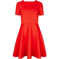 Ted Baker Meddie Skater dress ($195) ❤ liked on Polyvore featuring dresses, orange, women, fit & flare dress, red metallic dress, square neck dress, zipper dress and ted baker dresses