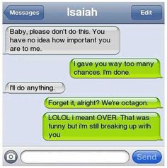 lol this is so wrong yet so funny. who breaks up in a text and 2 who says lol while breaking up with someone ha! Just For Laughs, Just For You, Text Fails, Breakup Quotes, Bad Breakup, Funny Text Messages, Phone Messages, I Love To Laugh, Humor