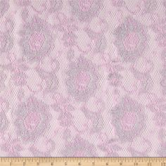 Metallic Stretch Lace Pink from @fabricdotcom  Delicate and classic, this lace is very lightweight and sheer. With 50% vertical stretch, this lace fabric appropriate for lingerie, overlays on skirts or dresses, feminine apparel accents, home decor accents, wraps or shrugs. IT features metallic silver Lurex threads throughout.