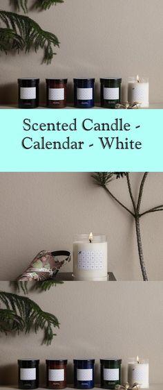 Scented Candle - Calendar - White - #calendar #candle #scented #white Soy Wax Candles, Scented Candles, Days Till Christmas, Christmas Calendar, Glass Containers, White Decor, Discover Yourself, Floating Shelves, Room Decor