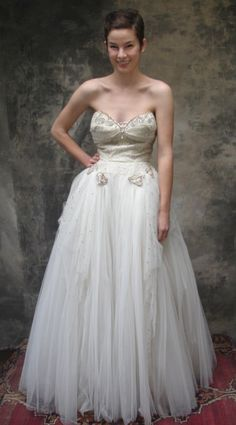 50s white lace and tulle wedding gown