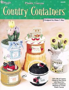 Country Containers Home Decor Plastic Canvas by LucyGooseyDolls