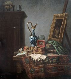 Still Life with various objects and a Delft blue jug and an easel | From a unique collection of still-life paintings at https://www.1stdibs.com/art/paintings/still-life-paintings/