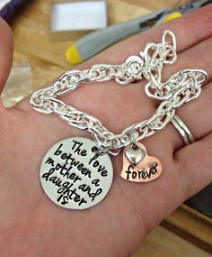 Hand Stamped Custom The Love Between a by DanielleJoyDesigns