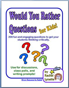 Would You Rather Questions for Kids! 200 Discussion Starters--Great idea for journal writing This would be a great way to start a lesson! Thinking Skills, Critical Thinking, Beginning Of School, Back To School, School Stuff, Would You Rather Questions, This Or That Questions, Wh Questions, Interview Questions
