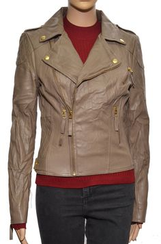 Pure Collection Brown Leather Jacket Ladies Size 8 Box42 06 B