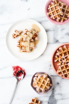 Grape Waffles with a Peanut Butter Glaze Syrup for National Peanut Butter and Jelly Day: these waffles and just like a PB & J sandwich, only better.
