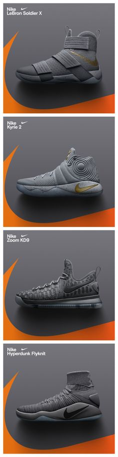 Nike just dropped grey-on-grey colorways of the KD 9, Kyrie 2, Soldier 10, and Hyperdunk 2016. Available now.
