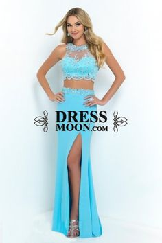2016 Sexy Side Slit Prom Dresses 2 Piece Prom Dress See Through High Neck Promgown Sparkly Vestidos De Fiesta Chiffon Party Dres Prom Dresses 2016, Girls Formal Dresses, Long Prom Gowns, Dress Formal, Short Prom, Blush Prom Dress, Bridesmaid Dress, Dress Prom, Wedding Dress