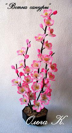 "** ""3D Pink Flowers""  Bead Weaving Фотография"