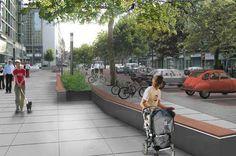 Grote natuurstenen tegels als bestrating op stationsplein west geeft een chique uitstraling bij de kantoren. Door plantenbakkken op het plein neer te zetten wordt het geen grote open ruimte, maar kunnen mensen er ook verblijven.