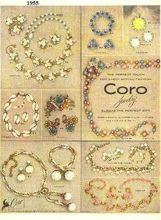 Coro jewelry ad, 1955. #vintage #1950s #ads