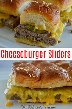 Hands down the best way to make sliders, this recipe for Easy Baked Cheeseburger sliders won't have you flipping individual patties! Bake the hamburger all together in a pan and serve on top of soft Hawaiian rolls. Hamburger Sliders, Cheeseburger Sliders, Cheeseburger Recipe, Beef Sliders, Hamburger Patties, Easy Casserole Recipes For Dinner Beef, Brunch Recipes, Baked Hamburgers, Slider Recipes