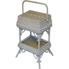 Antique Ornate Victorian Wicker Sewing Stand Circa 1890's Vintage Sewing Box, Indian Springs, Painted Wicker, Sewing Baskets, White Wicker, French Provincial, Sewing Accessories, Victorian Homes, Lakes
